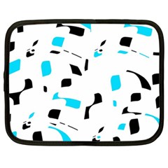 Blue, Black And White Pattern Netbook Case (xxl)  by Valentinaart