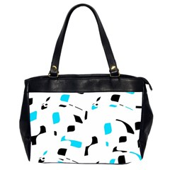 Blue, Black And White Pattern Office Handbags (2 Sides)  by Valentinaart