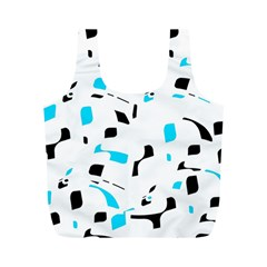 Blue, Black And White Pattern Full Print Recycle Bags (m)  by Valentinaart