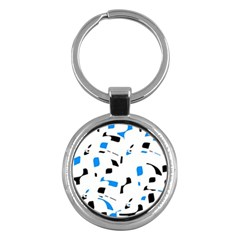 Blue, Black And White Pattern Key Chains (round)  by Valentinaart