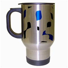 Blue, Black And White Pattern Travel Mug (silver Gray) by Valentinaart