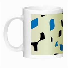 Blue, Black And White Pattern Night Luminous Mugs by Valentinaart