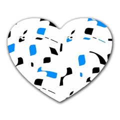 Blue, Black And White Pattern Heart Mousepads by Valentinaart