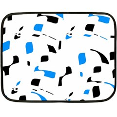 Blue, Black And White Pattern Fleece Blanket (mini) by Valentinaart