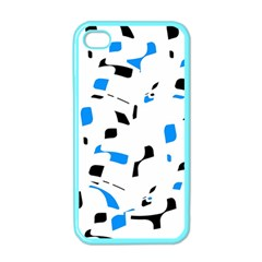 Blue, Black And White Pattern Apple Iphone 4 Case (color) by Valentinaart