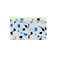 Blue, Black And White Pattern Cosmetic Bag (xs) by Valentinaart