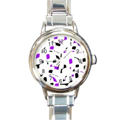 Purple, Black And White Pattern Round Italian Charm Watch by Valentinaart