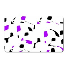 Purple, Black And White Pattern Magnet (rectangular) by Valentinaart