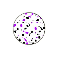Purple, Black And White Pattern Hat Clip Ball Marker (4 Pack) by Valentinaart