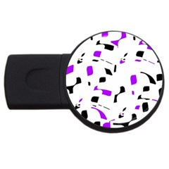 Purple, Black And White Pattern Usb Flash Drive Round (4 Gb)