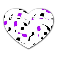 Purple, Black And White Pattern Heart Mousepads by Valentinaart