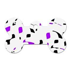 Purple, Black And White Pattern Dog Tag Bone (one Side) by Valentinaart