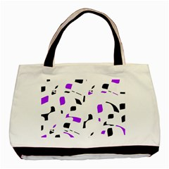 Purple, Black And White Pattern Basic Tote Bag (two Sides) by Valentinaart