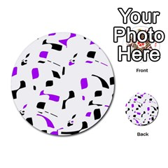 Purple, Black And White Pattern Multi Purpose Cards (round)  by Valentinaart