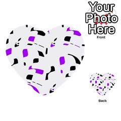 Purple, Black And White Pattern Multi Purpose Cards (heart)  by Valentinaart