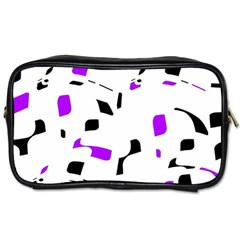 Purple, Black And White Pattern Toiletries Bags 2 Side by Valentinaart