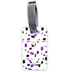 Purple, Black And White Pattern Luggage Tags (one Side)  by Valentinaart