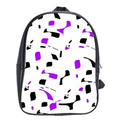 Purple, Black And White Pattern School Bags (xl)  by Valentinaart