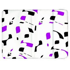 Purple, Black And White Pattern Samsung Galaxy Tab 7  P1000 Flip Case by Valentinaart