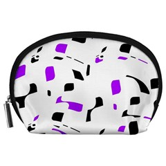 Purple, Black And White Pattern Accessory Pouches (large)  by Valentinaart