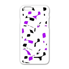 Purple, Black And White Pattern Apple Iphone 6/6s White Enamel Case by Valentinaart
