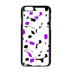 Purple, Black And White Pattern Apple Iphone 6/6s Black Enamel Case by Valentinaart