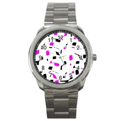 Magenta, Black And White Pattern Sport Metal Watch by Valentinaart
