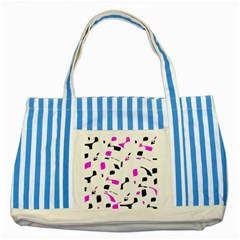 Magenta, Black And White Pattern Striped Blue Tote Bag by Valentinaart