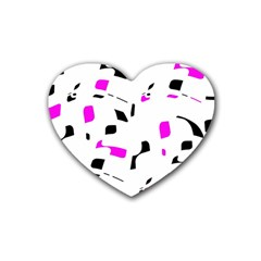 Magenta, Black And White Pattern Rubber Coaster (heart)  by Valentinaart