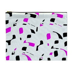 Magenta, Black And White Pattern Cosmetic Bag (xl) by Valentinaart