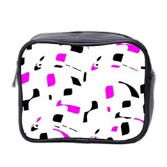 Magenta, Black And White Pattern Mini Toiletries Bag 2 Side by Valentinaart