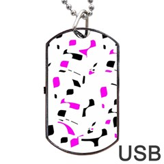 Magenta, Black And White Pattern Dog Tag Usb Flash (two Sides)  by Valentinaart