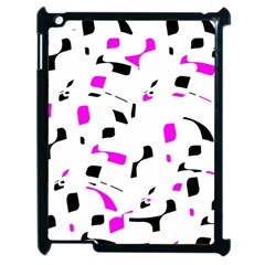 Magenta, Black And White Pattern Apple Ipad 2 Case (black) by Valentinaart