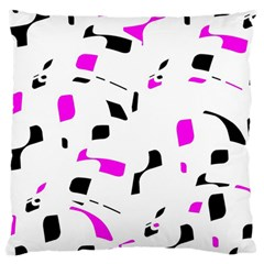 Magenta, Black And White Pattern Large Cushion Case (two Sides) by Valentinaart