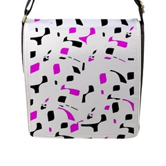 Magenta, Black And White Pattern Flap Messenger Bag (l)  by Valentinaart