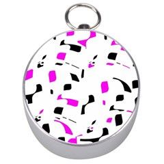 Magenta, Black And White Pattern Silver Compasses by Valentinaart
