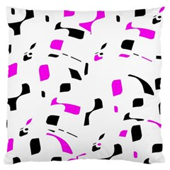 Magenta, Black And White Pattern Large Flano Cushion Case (one Side) by Valentinaart