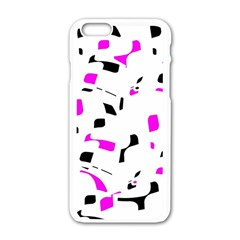 Magenta, Black And White Pattern Apple Iphone 6/6s White Enamel Case by Valentinaart