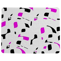 Magenta, Black And White Pattern Jigsaw Puzzle Photo Stand (rectangular) by Valentinaart
