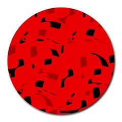 Red And Black Pattern Round Mousepads by Valentinaart