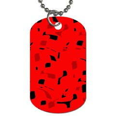 Red And Black Pattern Dog Tag (one Side) by Valentinaart