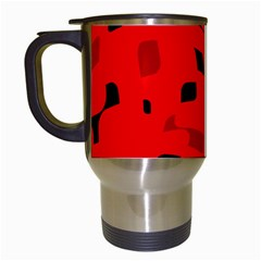 Red And Black Pattern Travel Mugs (white) by Valentinaart