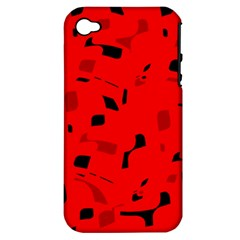 Red And Black Pattern Apple Iphone 4/4s Hardshell Case (pc+silicone) by Valentinaart