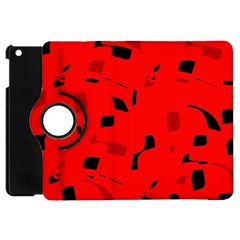 Red And Black Pattern Apple Ipad Mini Flip 360 Case by Valentinaart