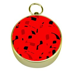 Red And Black Pattern Gold Compasses