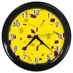 Yellow And Purple Pattern Wall Clocks (black) by Valentinaart