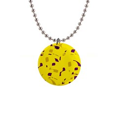 Yellow And Purple Pattern Button Necklaces by Valentinaart