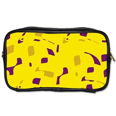 Yellow And Purple Pattern Toiletries Bags by Valentinaart