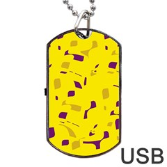 Yellow And Purple Pattern Dog Tag Usb Flash (two Sides)  by Valentinaart