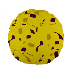 Yellow And Purple Pattern Standard 15  Premium Round Cushions by Valentinaart